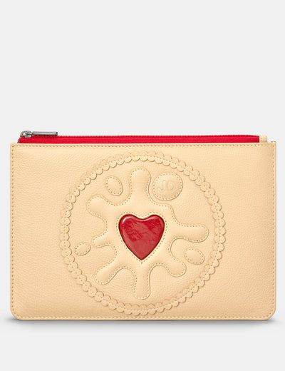 Jammie Dodger Biscuit Leather Brooklyn Pouch - Yoshi