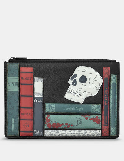 Shakespeare Bookworm Black Leather Brooklyn Pouch - Yoshi