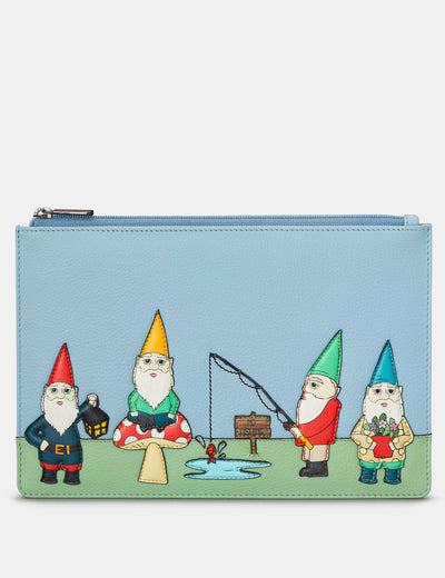 Gnome Sweet Gnome Blue Leather Brooklyn Pouch - Yoshi