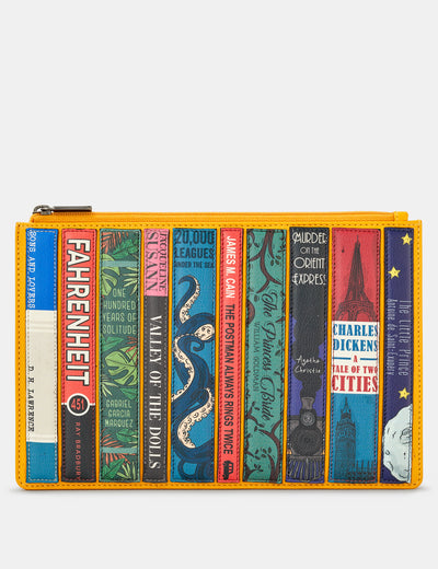 Bookworm Yelllow Leather Brooklyn Pouch - Yoshi