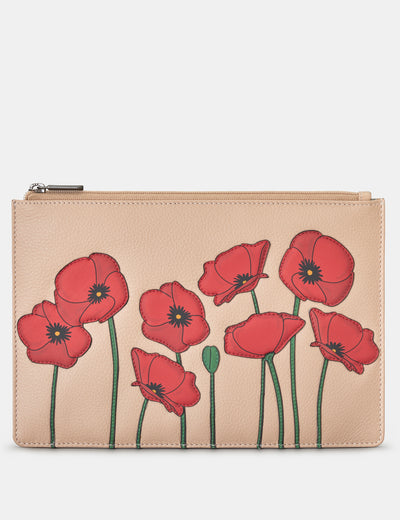 Poppy Flower Frappe Leather Brooklyn Pouch - Yoshi