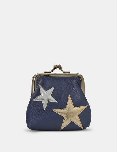 Stars Navy Leather Clip Top Purse - Yoshi