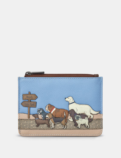 Dog Walk Brown Leather Franklin Purse - Yoshi