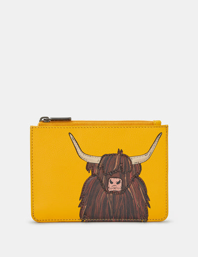 Highland Cow Yellow Leather Franklin Purse - Yoshi