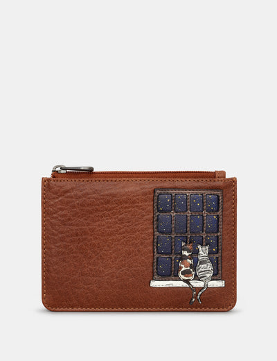 Midnight Cats Brown Leather Franklin Purse - Yoshi