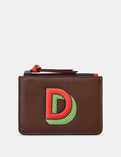 D Monogram Brown Leather Purse - Yoshi