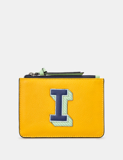 I Monogram Yellow Leather Purse - Yoshi