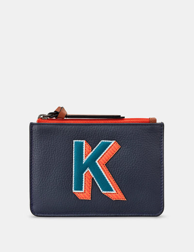 K Monogram Navy Leather Franklin Purse - Yoshi