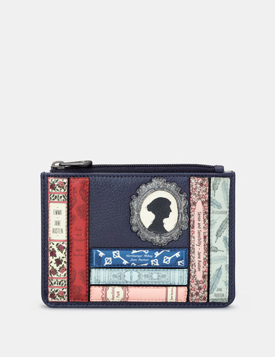 Jane Austen Bookworm Navy Leather Franklin Purse - Yoshi