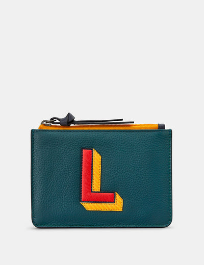 L Monogram Teal Leather Franklin Purse - Yoshi