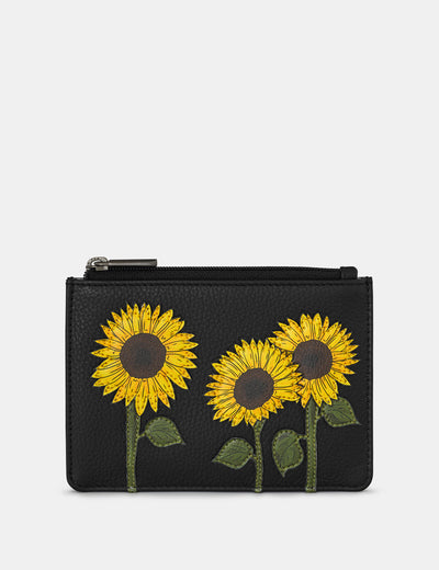 Sunflowers Black Leather Franklin Purse - Yoshi