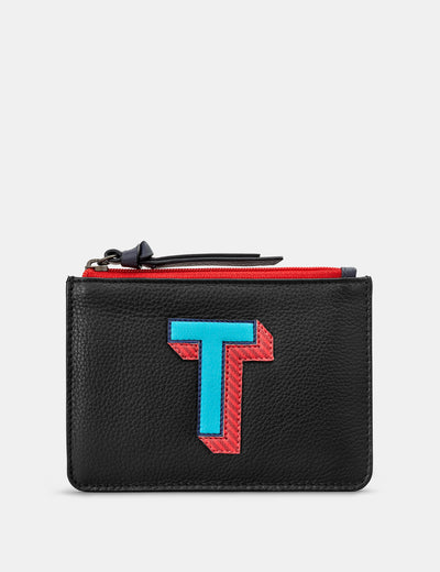 T Monogram Black Leather Purse - Yoshi