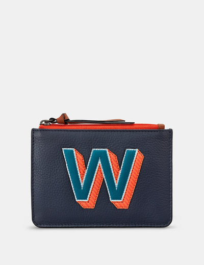 W Monogram Navy Leather Purse - Yoshi