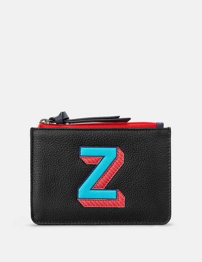 Z Monogram Black Leather Purse - Yoshi