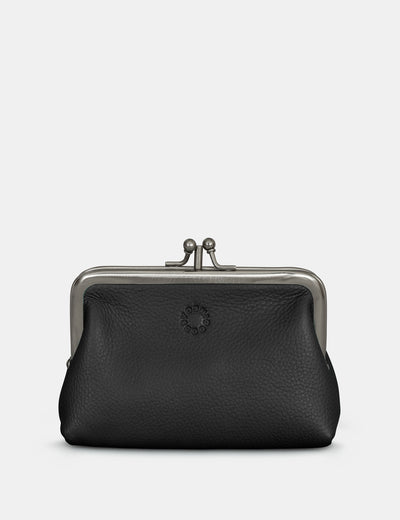 Black Leather Aubrey Frame Purse - Yoshi
