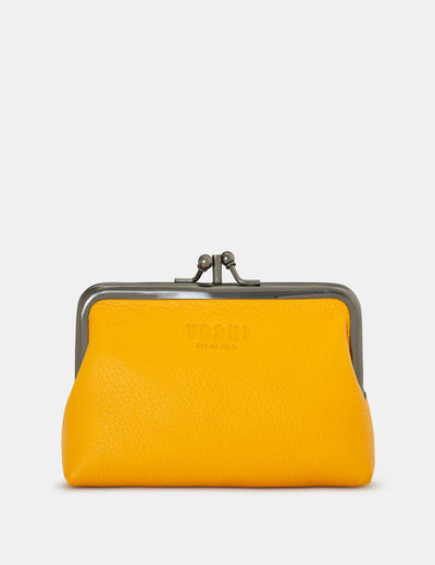 Yellow Leather Aubrey Frame Purse - Yoshi