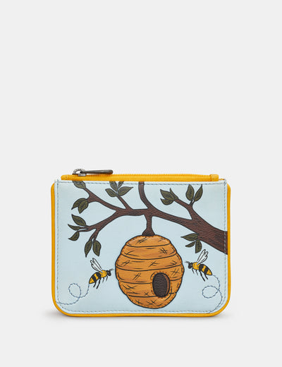 Bee Hive Zip Top Leather Purse - Yoshi