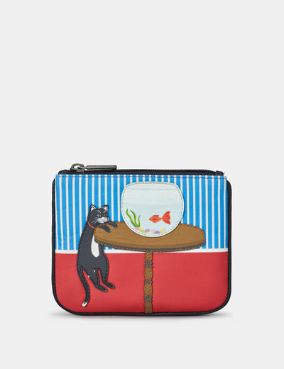 Cat And Fish Zip Top Leather Purse - Yoshi