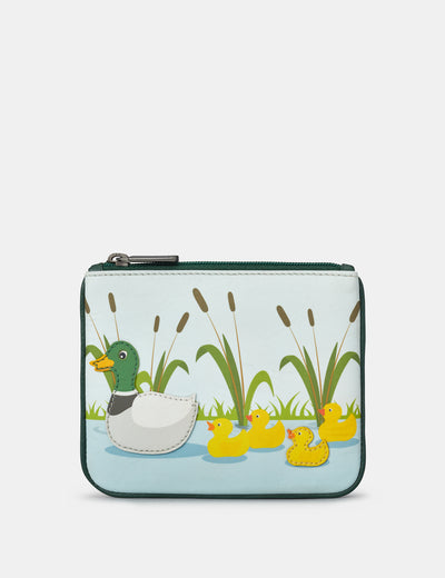 Family Of Ducks Zip Top Leather Purse - Yoshi