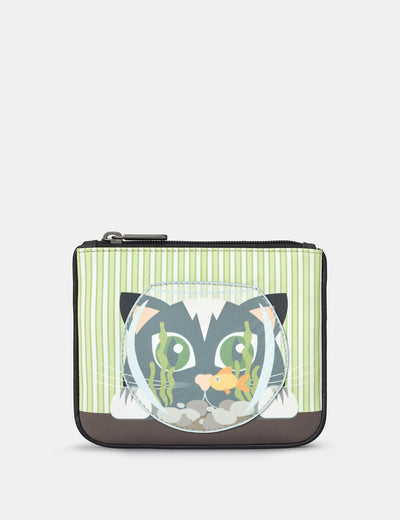 Cat And Fish Bowl Zip Top Leather Purse - Yoshi