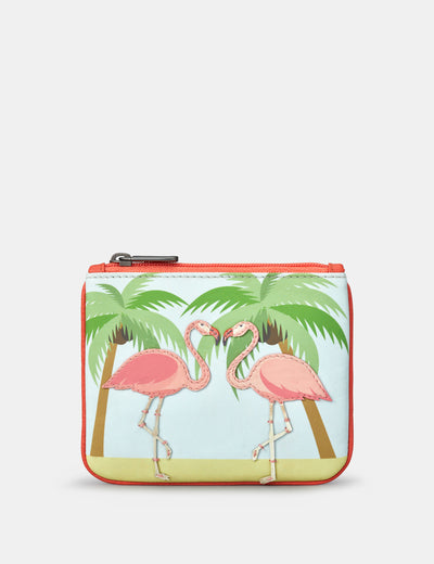Flock Of Flamingos Zip Top Leather Purse - Yoshi