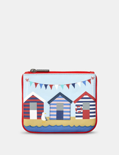 Beach Huts Zip Top Leather Purse - Yoshi