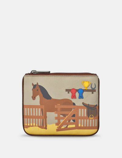 Horse Stables Zip Top Leather Purse - Yoshi