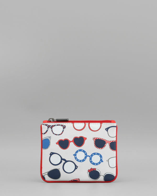Suns Out Glasses Print Cream Leather Coin Purse