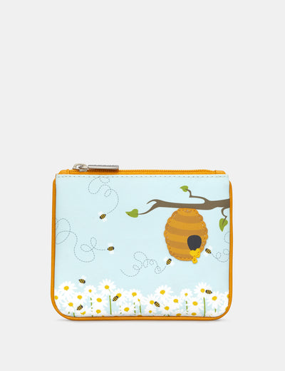 Honey Bee Zip Top Leather Purse - Yoshi