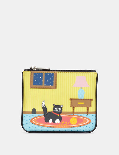 Playful Cat Zip Top Leather Purse - Yoshi