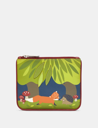 Hedgehog And Fox Zip Top Leather Purse - Yoshi