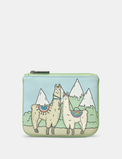 Llamas Zip Top Leather Purse - Yoshi