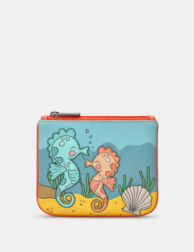 Seahorse Zip Top Leather Purse - Yoshi
