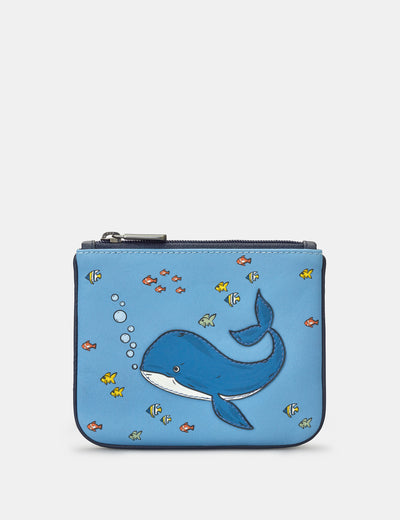 Whale Zip Top Leather Purse - Yoshi
