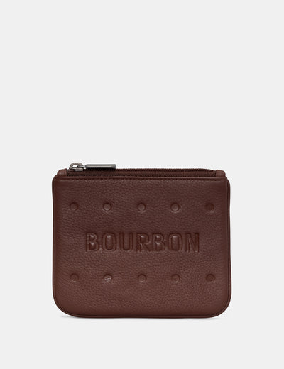 Bourbon Biscuit Leather Zip Top Purse - Yoshi