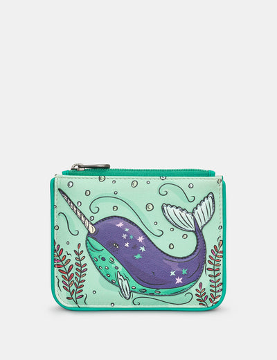 Narwhal Zip Top Leather Purse - Yoshi