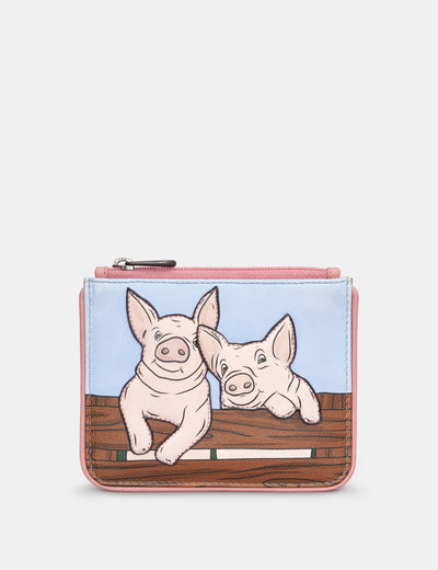 Hogs and Kisses Zip Top Leather Purse - Yoshi