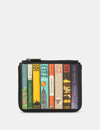 Bookworm Black Leather Caxton Purse - Yoshi