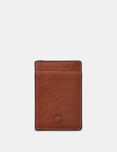Brown Leather Compact Card Holder - Yoshi