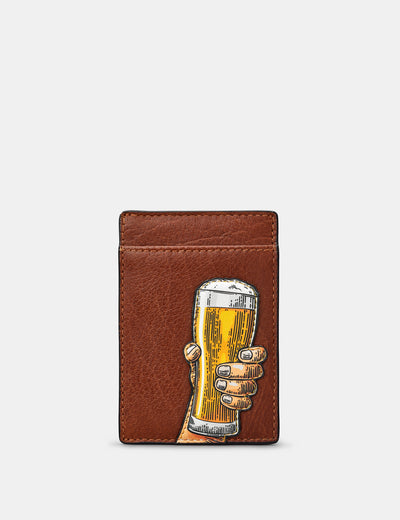 Cheers Brown Leather Compact Card Holder - Yoshi