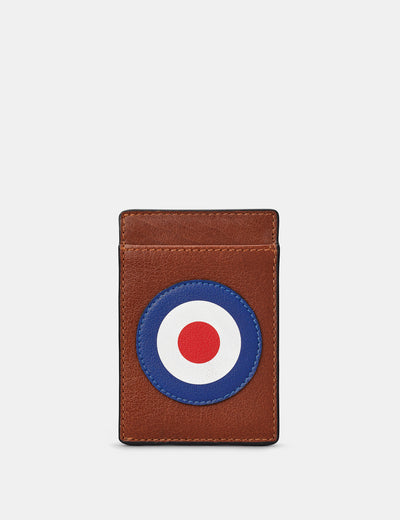 Mod Target Brown Leather Compact Card Holder - Yoshi