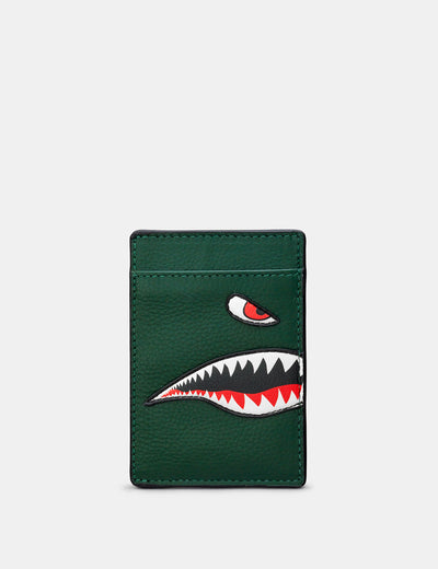 Nose Cone Green Leather Compact Card Holder - Yoshi