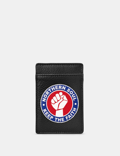 Northern Soul Black Leather Compact Card Holder - Yoshi