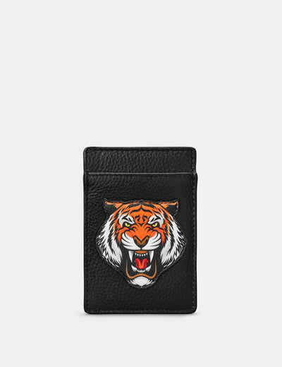 Tiger Black Leather Compact Card Holder - Yoshi