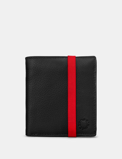 Two Fold Black Leather Coin Pocket Wallet With Elastic - Yoshi
