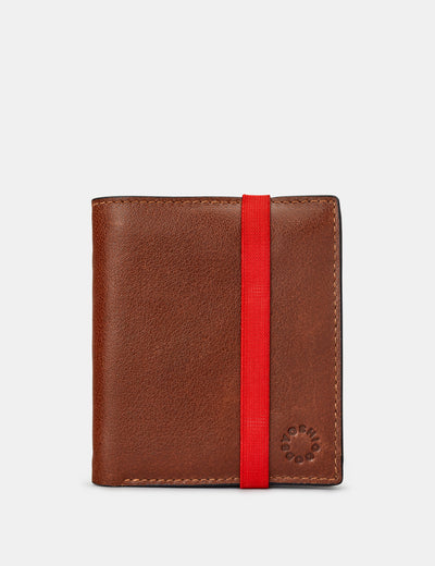 Two Fold Brown Leather Coin Pocket Wallet With Elastic - Yoshi