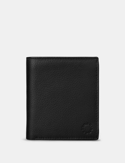Two Fold Black Leather Coin Pocket Wallet - Yoshi