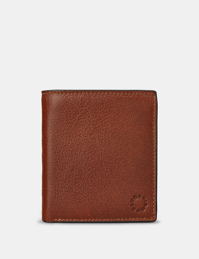 Two Fold Brown Leather Coin Pocket Wallet - Yoshi