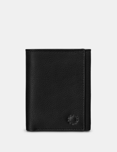 Three Fold Black Leather Wallet - Yoshi