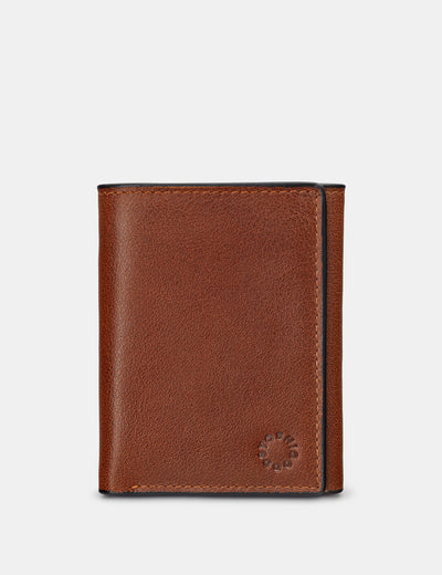 Three Fold Brown Leather Wallet - Yoshi